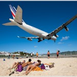 Landing Jet at St. Maarten Airport, Netherlands Antilles