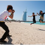 Jumping Tourists and Burj al Arab, Dubai, UAE