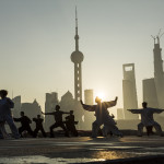 Martial Arts Group and Skyline, Shanghai, China