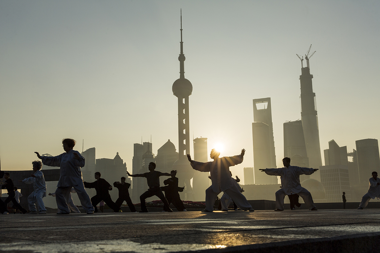 Martial Arts Group and Skyline, Shanghai, China